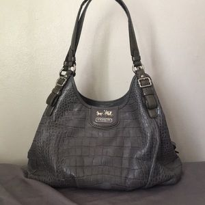 Coach Madison Croc shoulder bag Grey 18761
